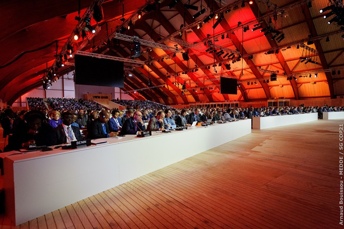 World leaders at the COP 21 plenary session in Le Bourget