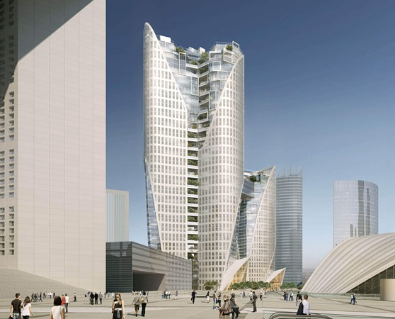 3d rendering of a view on sisters building in la défense