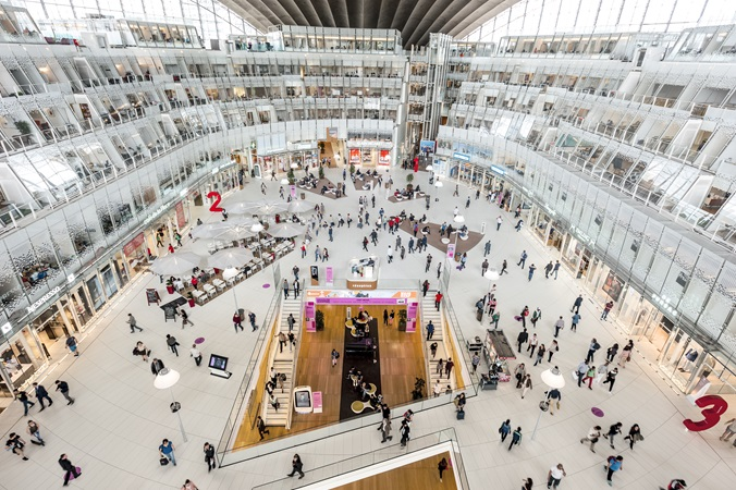A aerial view of the main hall of the CNIT shopping centre