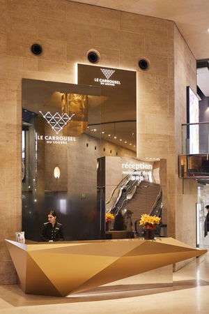 A welcome desk at the Carrousel du Louvre shopping centre.