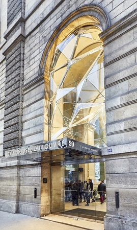 The Crystal façade at the main entrance to the Carrousel du Louvre shopping centre