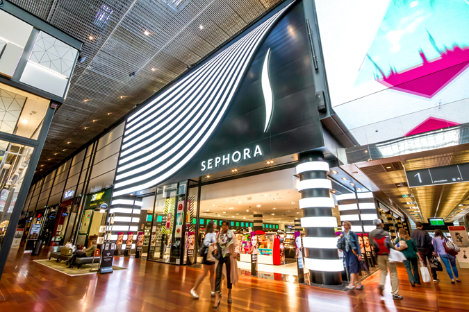 Main escalators and the Sephora store in the shopping centre Euralille.