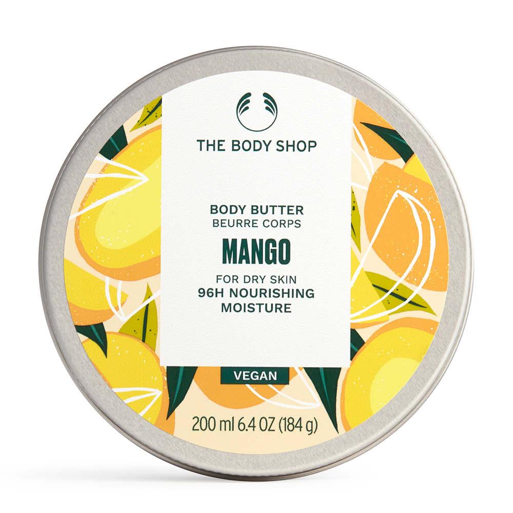 En burk med mango body butter