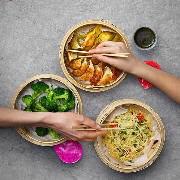 beijing dumplings och broccoli