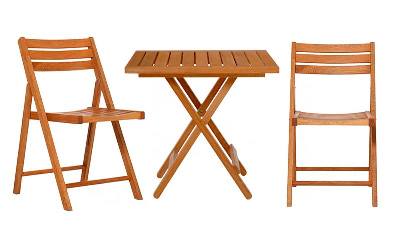 Zenosolid Oak Folding Table & 2 Chair Set Habitat