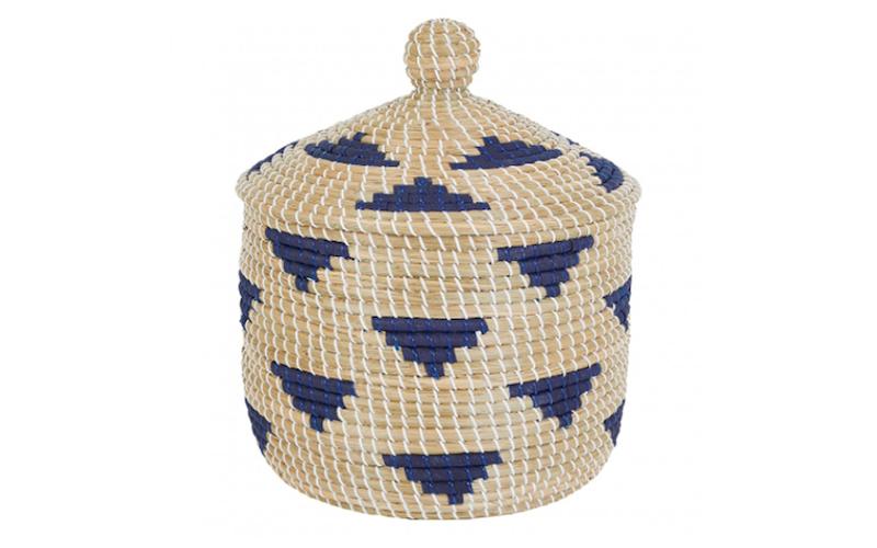 Hogan Blue Seagrass Basket with Lid, Habitat