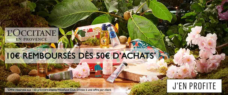 Offre L'Occitane 10€ remboursés dès 50€ d'achats