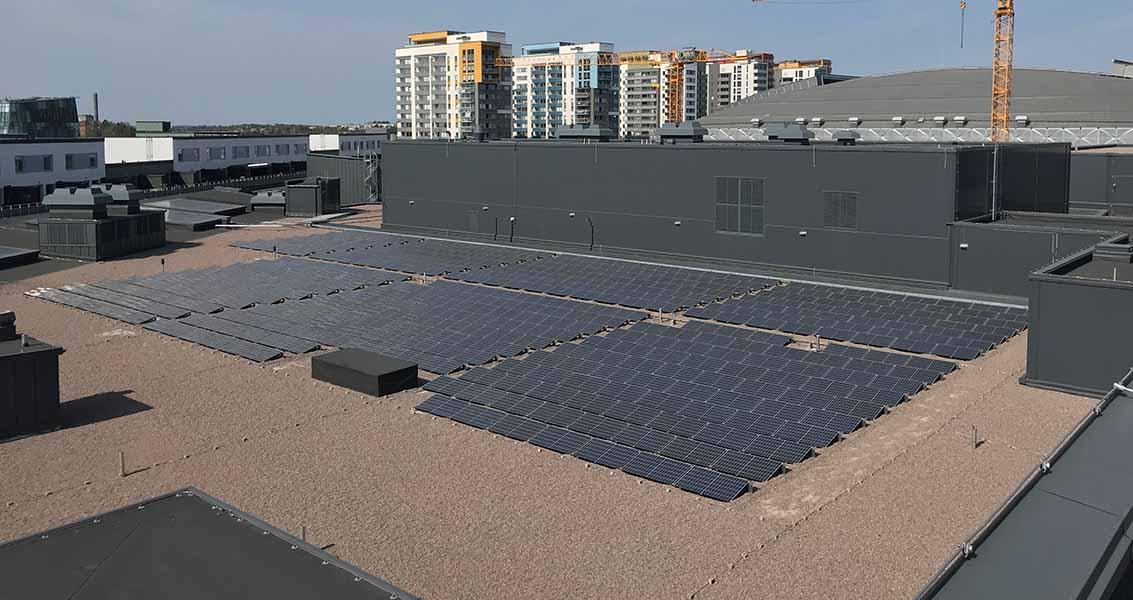 Solceller på Westfield Mall of Scandinavias tak